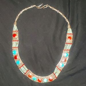 Tibetan Sterling turquoise & red coral necklace